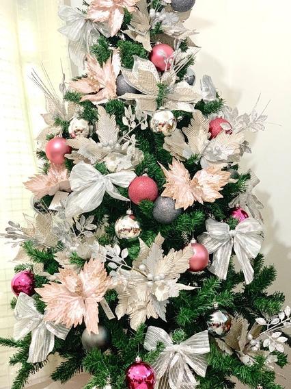 Arvore Natal Decorada 1,80m Prata Rose 645 Hastes 53 Enfeite
