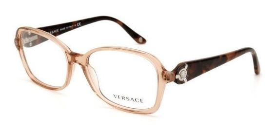Óculos De Grau Feminino Versace Acetato Marrom