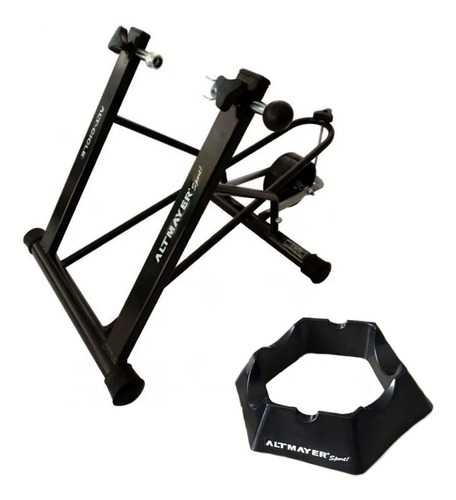 Imagem 1 de 7 de Rolo Treino Bicicleta Alto Desempenho Al04 + Base Dianteira