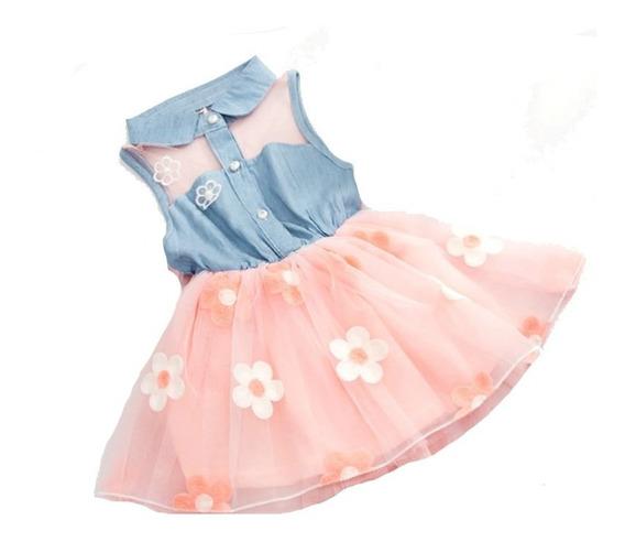Vestido Infantil Menina Festa De Brim Com Tule Florido