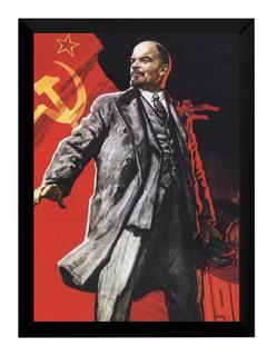 Quadro Revolucionário Lenin Comunista Arte Cartaz Moldurado