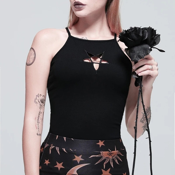 Musculosa Goth Mujer Pentagrama Talle S