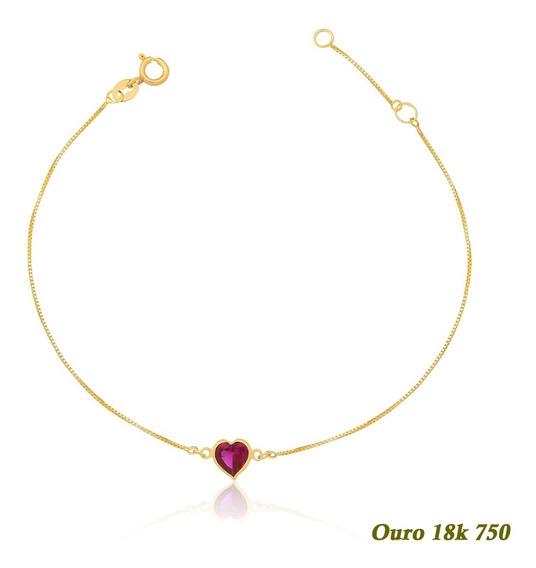Pulseira Ouro 18k 750 Adulto Coração De Zircônia 5mm 18cm