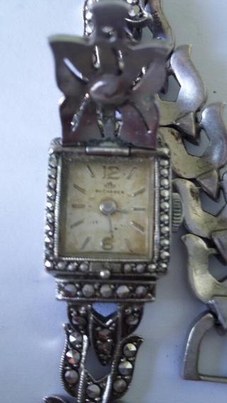 Relógio Bucherer Feminino Em Prata C/marcasita (ref98a)