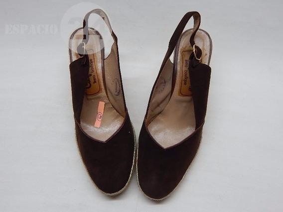 Zapatos P/dama T 36 Cuero Nobuk De Color Marrón Oscuro Usado