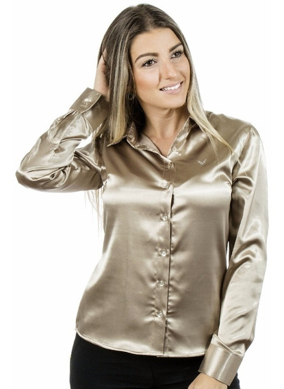 Camisa Feminina Dourada - Cetim C/ Elastano - Pimenta Rosada