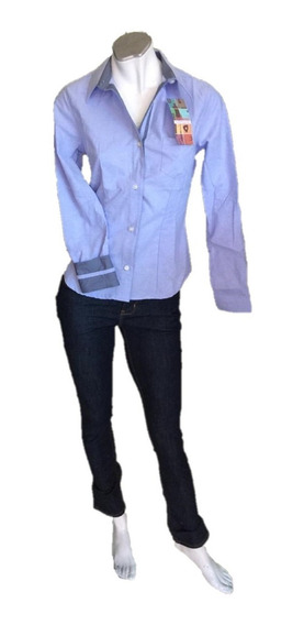 Oferta Blusa Para Dama De Vestir Semi Moda Azul Oxford
