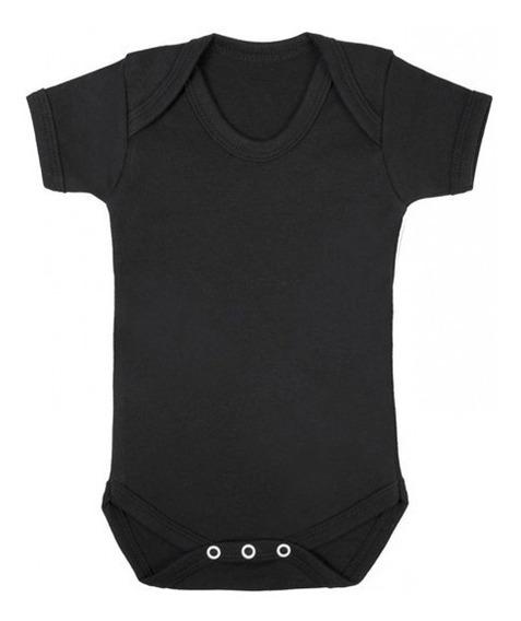 Pañalero Mameluco Negro Liso De Algodón Bebé 6 A 18 M