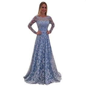 Vestido De Noche Para Mujer Boda Graduación Azul Largo Flor