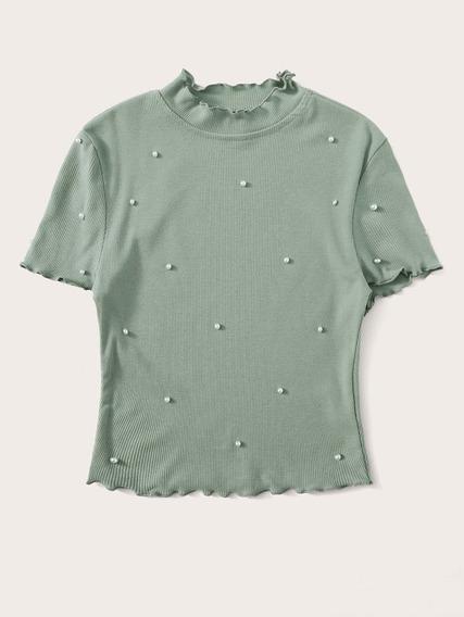 Top Perlas Crop Top Blusas Dama Blusas De Moda Ropa Mujer