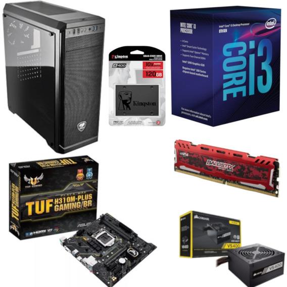 Pc Cougar Intel I3 8100 H310m Plus Bl 8gb Vs400 Ssd 120gb