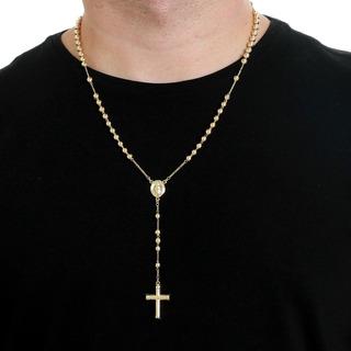 Colar Masculino Terço Rosario Bolinha 60cm 5mm Folheado Ouro