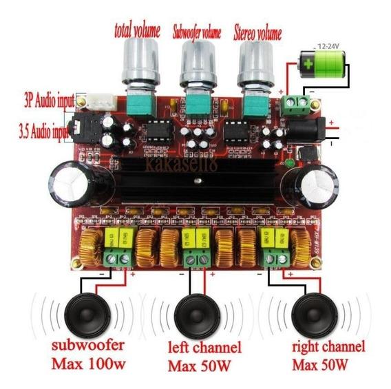 Placa Amplificador Digital 200w Com Fonte De Alimentação 24v
