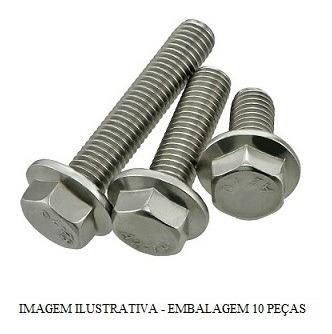 Parafuso Sext Flange M6x28 Cabeca 10mm Pacote 10 Pcs Paralam