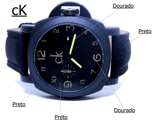 Relógio Ck Excursion Preto Fosco Camurça Masculino Top C461