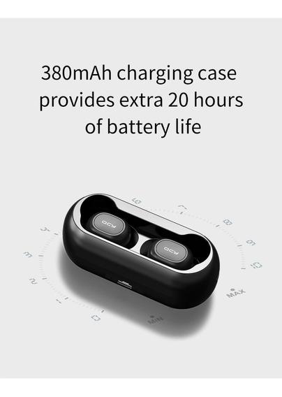 Fone Qcy Qs1 Tws Preto Wireless Bluetooth Stereo 5.0 Novo K