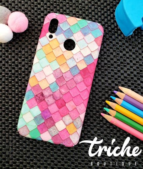 Funda Case Mosaico Colores Sirena Dama Huawei P20 Lite