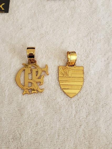 Pingente Flamengo Escudo Ou Crf Banhado A Ouro 18k