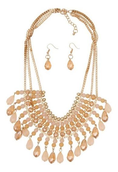 Collar 333113 Y Aretes Cadena Oro Evento Rinna Bruni De