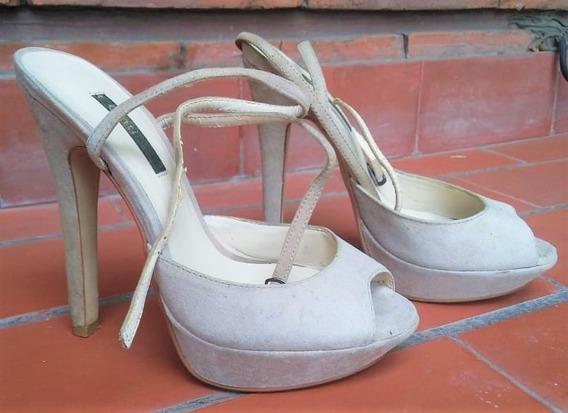 Zapatos Stilettos Con Plataforma Italianos Color Nude