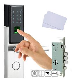 Fechadura Biométrica Digital - Aço Inox - Lado Esquerdo