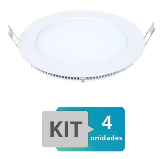 Kit 4 Painel Plafon Led Embutir Slim Redondo 18w Branco Quen