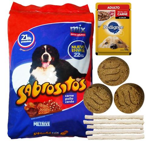 Imagen 1 de 2 de Comida Perro Adulto Sabrositos Mix Carnes 20 + 2 Kg + Regalo