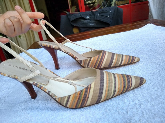 Zapatos Stiletto Importados Usa -forrados Tela Rayada -39