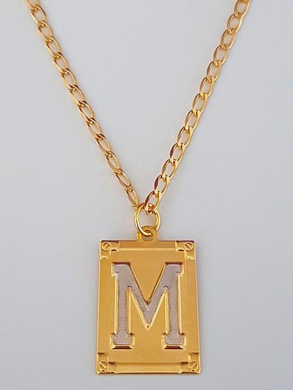 Corrente Cordão 60 Cm Pingente Letra M Banhado Ouro. C63m19