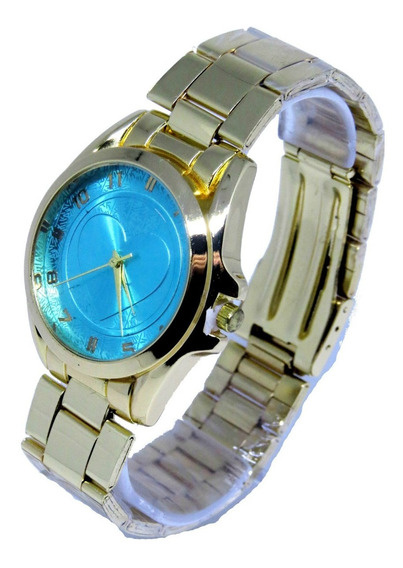 Relógio Feminino Dourado Azul Confortável Gold Original C288