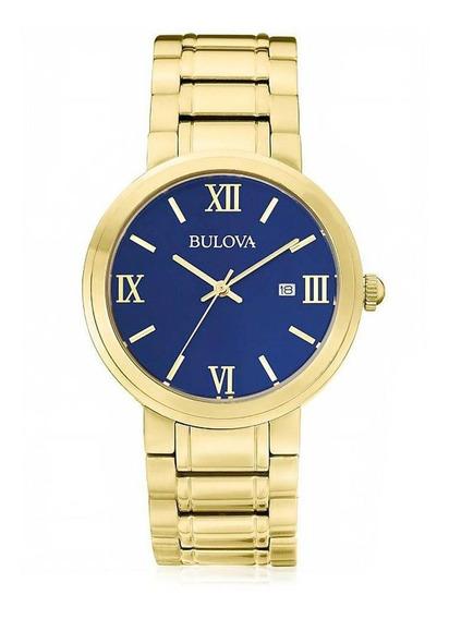 Relógio Bulova Dourado Com Fundo Azul Wb26146z
