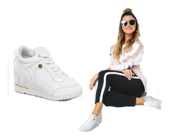 Tenis Sneakers Botin Plataforma 8c Cuñas Blancas Novia Boda Fiesta Quinciañera Filo Oro