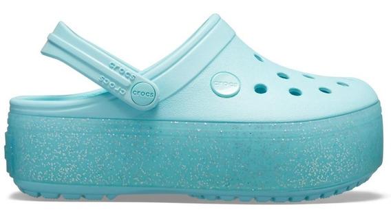 Crocband Platform Clog Gs Ice Blue/ice Blue Sparkle