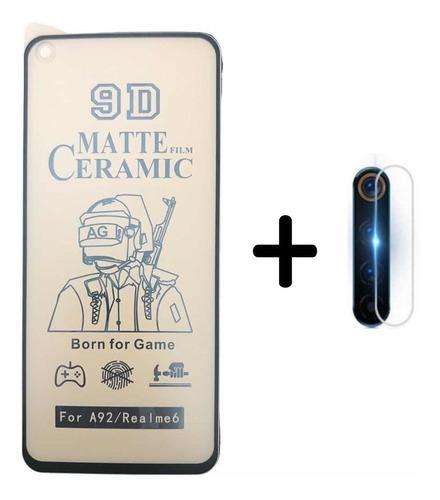 Vidrio Cerámica Matte Para Realme 6 + Vidrio De Cámara