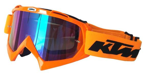 Óculos Ktm Motocross Trilha Off Road Enduro - Espelhado Azul