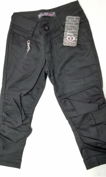 Pantalón Pescador Capri Gabardina Elastizado Nena Negro T 6