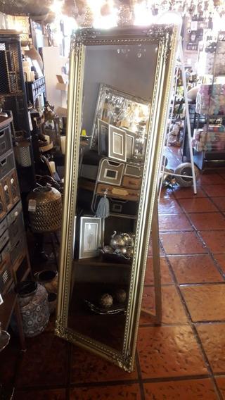 Espejo De Pie Vintage, Viselado, Antiguo Moldura Dorado
