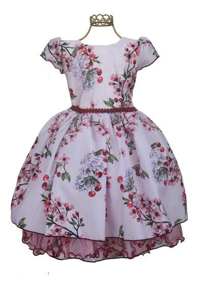 Vestido Menina Floral Cereja Cinto Pérolas Delicado Charmoso