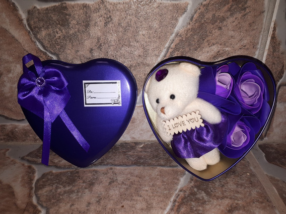 Ursinho De Pelúcia Roxo No Coração S/juros