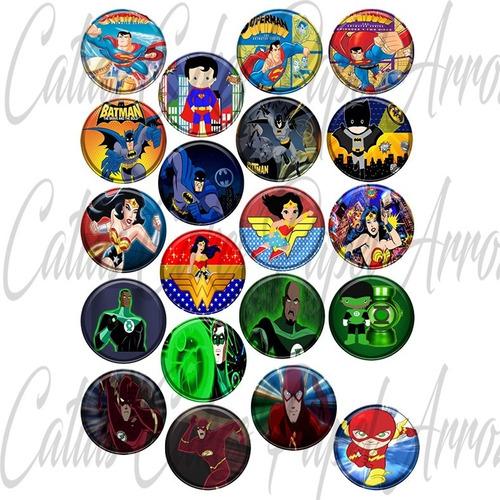 Imagem 1 de 3 de Liga Da Justiça Heróis 20 Papel Arroz Redondo P/ Drinks 5cm