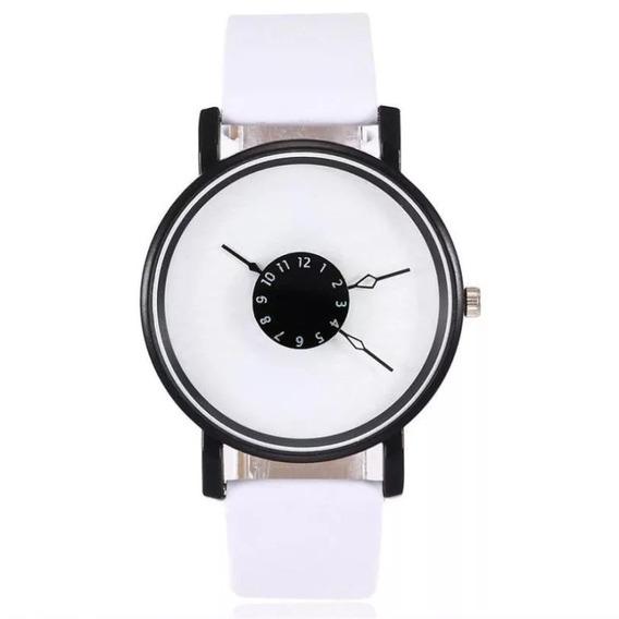 Relógio Quartz De Pulso Feminino Luxuoso Couro E Aço
