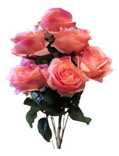Imagem 1 de 1 de Buquê De Rosas X9 55cm - Rosa Outono 2t