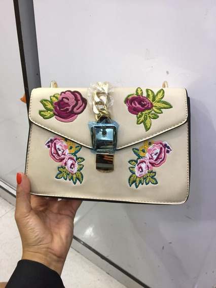 Bolsa Flores Importada Bordada Couro Transversal Feminina