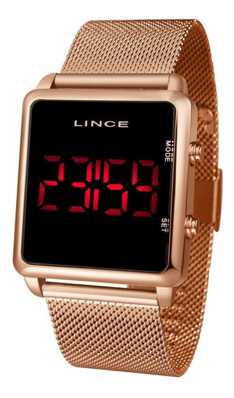 Relogio Lince Digital Led Quadrado Rose Gold Mdr4596l Pxrx
