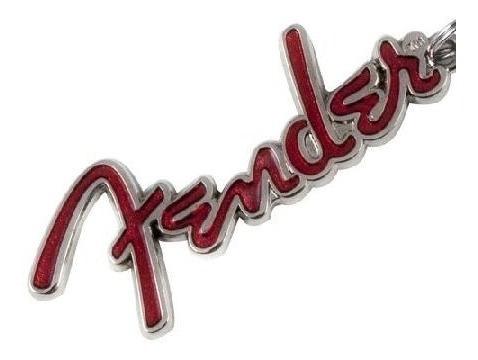 Chaveiro Fender De Metal Logo Prata/vermelho - Coleção