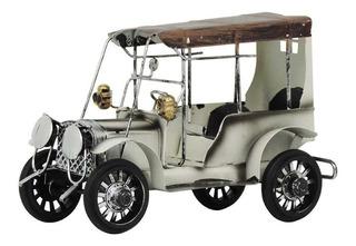 Carro Antigo Branco Em Metal Cm-62