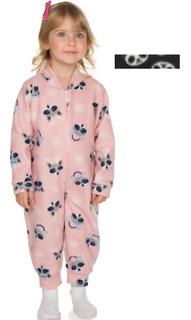 Pijama Macaquinho Soft Bebê Menina Longo Inverno Com Zíper