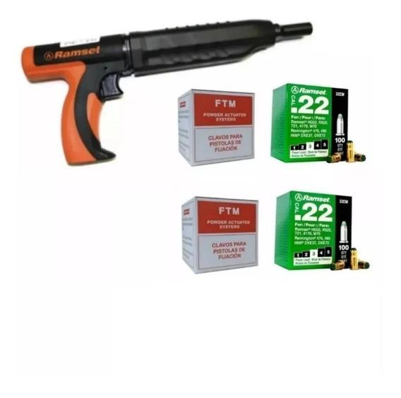 Combo Pistola Ramset + 2 Caja De Clavos + 2 Carga Verde
