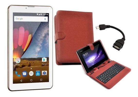 Tablet Dourado Tela 7 M7 3g Plus Função Celular Com Teclado