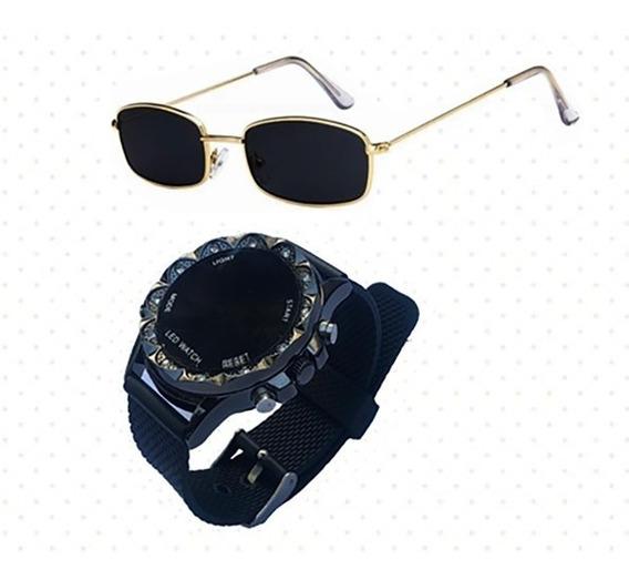 Kit Relogio Masculino Diamante + Oculos Sol Quadrado Retro